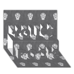 Skull Pattern Silver You Rock 3D Greeting Card (7x5)