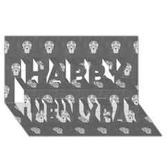 Skull Pattern Silver Happy New Year 3d Greeting Card (8x4)