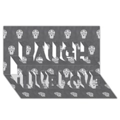 Skull Pattern Silver Laugh Live Love 3d Greeting Card (8x4)