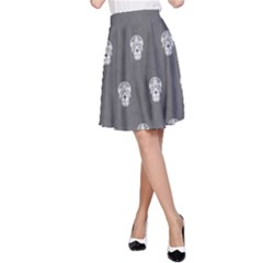 Skull Pattern Silver A-Line Skirts