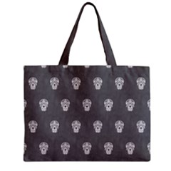 Skull Pattern Silver Zipper Tiny Tote Bags