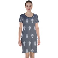 Skull Pattern Silver Short Sleeve Nightdresses