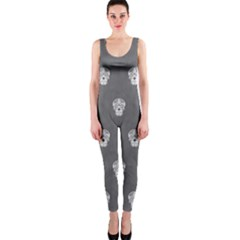 Skull Pattern Silver OnePiece Catsuits