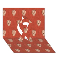 Skull Pattern Terra Ribbon 3D Greeting Card (7x5)