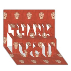 Skull Pattern Terra THANK YOU 3D Greeting Card (7x5)