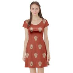 Skull Pattern Terra Short Sleeve Skater Dresses