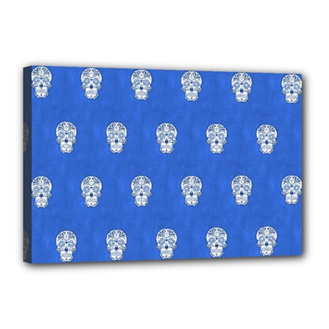 Skull Pattern Inky Blue Canvas 18  X 12