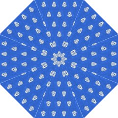 Skull Pattern Inky Blue Folding Umbrellas