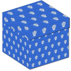 Skull Pattern Inky Blue Storage Stool 12