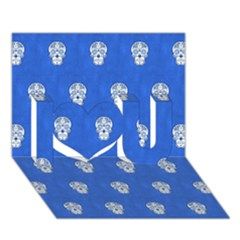 Skull Pattern Inky Blue I Love You 3D Greeting Card (7x5)