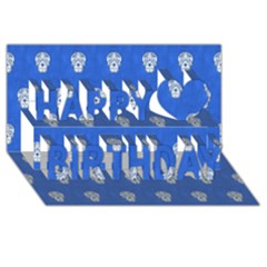 Skull Pattern Inky Blue Happy Birthday 3d Greeting Card (8x4)