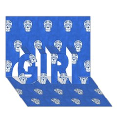 Skull Pattern Inky Blue GIRL 3D Greeting Card (7x5)