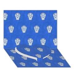 Skull Pattern Inky Blue Heart Bottom 3D Greeting Card (7x5)