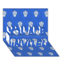 Skull Pattern Inky Blue YOU ARE INVITED 3D Greeting Card (7x5)