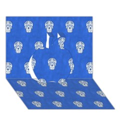 Skull Pattern Inky Blue Apple 3d Greeting Card (7x5)