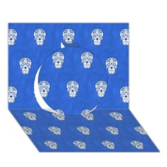 Skull Pattern Inky Blue Circle 3D Greeting Card (7x5)