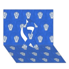 Skull Pattern Inky Blue Ribbon 3d Greeting Card (7x5)