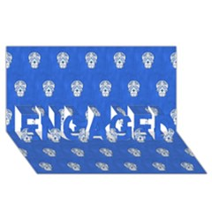 Skull Pattern Inky Blue ENGAGED 3D Greeting Card (8x4)