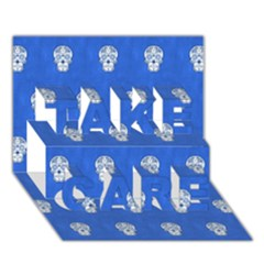 Skull Pattern Inky Blue TAKE CARE 3D Greeting Card (7x5)