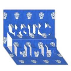 Skull Pattern Inky Blue You Did It 3D Greeting Card (7x5)