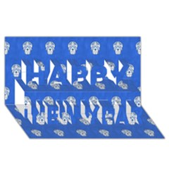 Skull Pattern Inky Blue Happy New Year 3D Greeting Card (8x4)