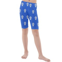 Skull Pattern Inky Blue Kid s swimwear