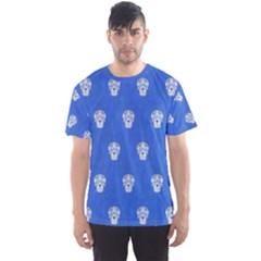 Skull Pattern Inky Blue Men s Sport Mesh Tees
