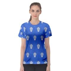 Skull Pattern Inky Blue Women s Sport Mesh Tees