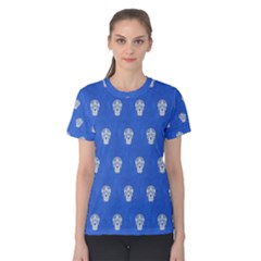 Skull Pattern Inky Blue Women s Cotton Tees