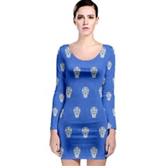 Skull Pattern Inky Blue Long Sleeve Bodycon Dresses