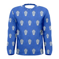 Skull Pattern Inky Blue Men s Long Sleeve T Shirts