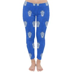 Skull Pattern Inky Blue Winter Leggings