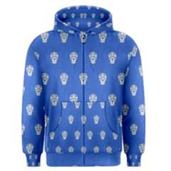 Skull Pattern Inky Blue Men s Zipper Hoodies