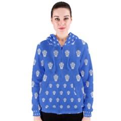 Skull Pattern Inky Blue Women s Zipper Hoodies