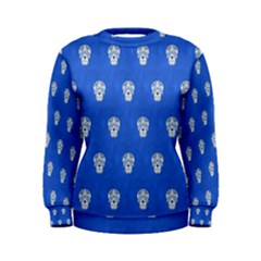 Skull Pattern Inky Blue Women s Sweatshirts