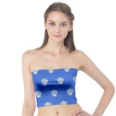 Skull Pattern Inky Blue Women s Tube Tops