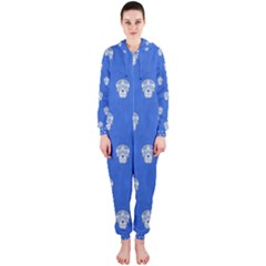 Skull Pattern Inky Blue Hooded Jumpsuit (Ladies)
