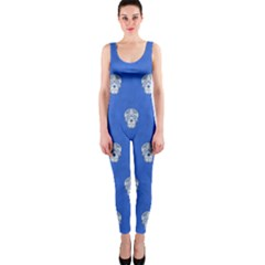 Skull Pattern Inky Blue OnePiece Catsuits