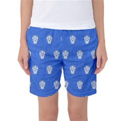 Skull Pattern Inky Blue Women s Basketball Shorts
