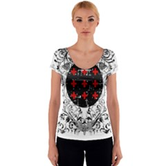 Occult theme Women s V-Neck Cap Sleeve Top