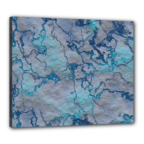 Marbled Lava Blue Canvas 24  X 20