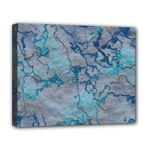 Marbled Lava Blue Deluxe Canvas 20  X 16