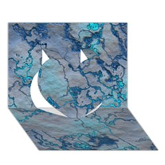 Marbled Lava Blue Heart 3D Greeting Card (7x5)