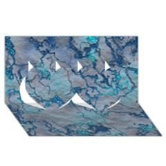 Marbled Lava Blue Twin Hearts 3D Greeting Card (8x4)