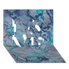 Marbled Lava Blue LOVE 3D Greeting Card (7x5)