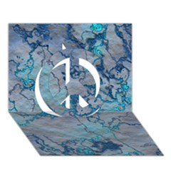 Marbled Lava Blue Peace Sign 3d Greeting Card (7x5)