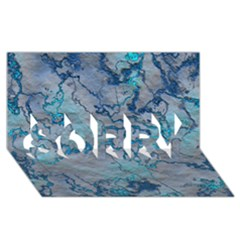 Marbled Lava Blue SORRY 3D Greeting Card (8x4)