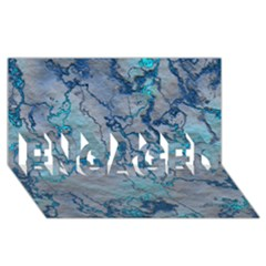 Marbled Lava Blue ENGAGED 3D Greeting Card (8x4)
