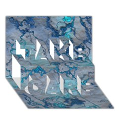 Marbled Lava Blue TAKE CARE 3D Greeting Card (7x5)