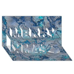 Marbled Lava Blue Merry Xmas 3D Greeting Card (8x4)